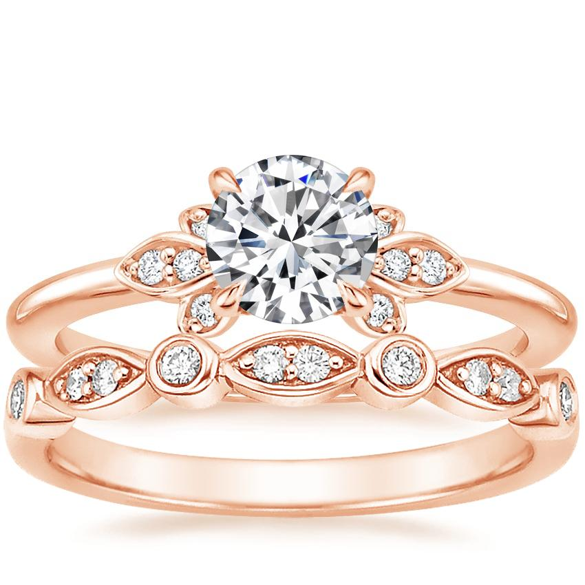 14K Rose Gold Fiorella Diamond Ring with Coronet Diamond Ring