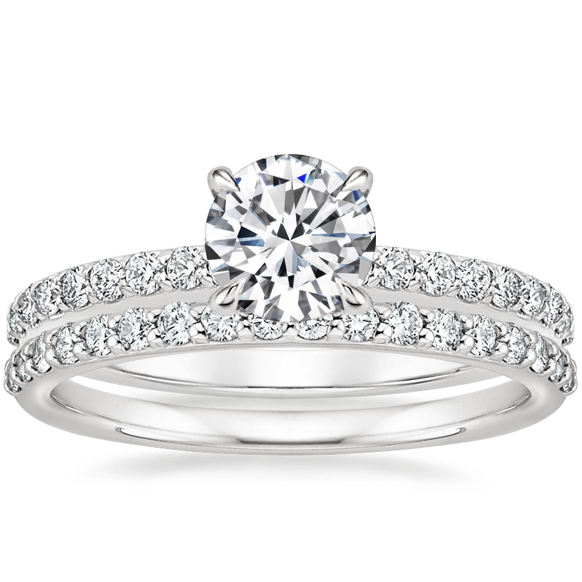 18K White Gold Luxe Elodie Diamond Ring (1/4 ct. tw.) with Petite Shared Prong Diamond Ring (1/4 ct. tw.)