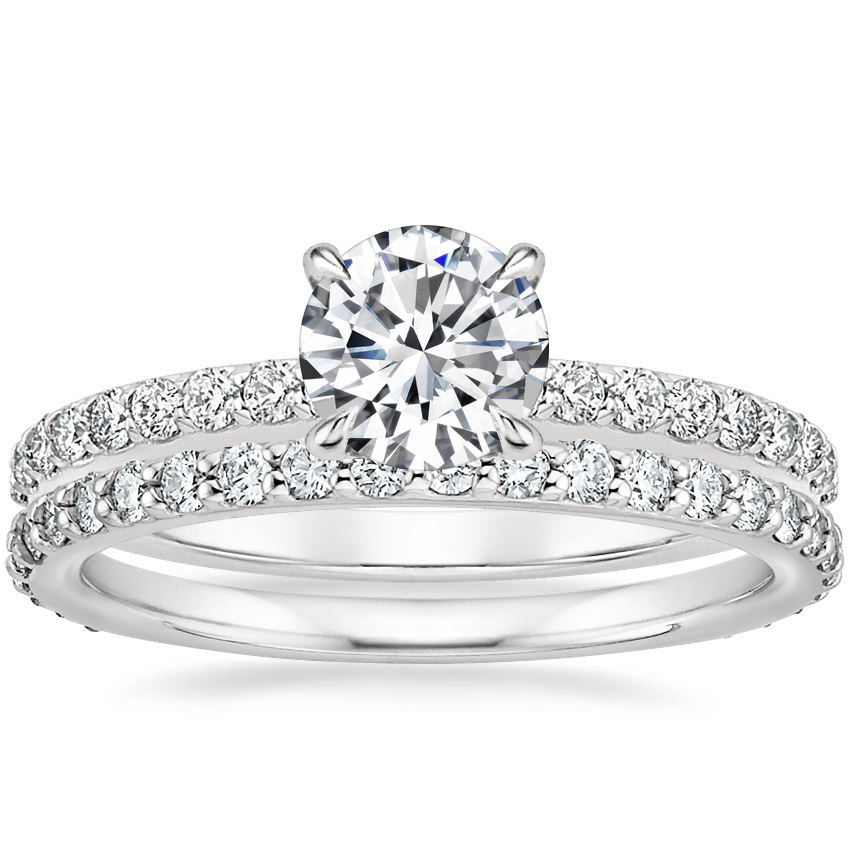 18K White Gold Luxe Elodie Diamond Ring (1/4 ct. tw.) with Petite Shared Prong Eternity Diamond Ring (1/2 ct. tw.)