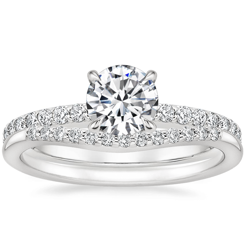 18K White Gold Luxe Elodie Diamond Ring (1/4 ct. tw.) with Petite Curved Diamond Ring