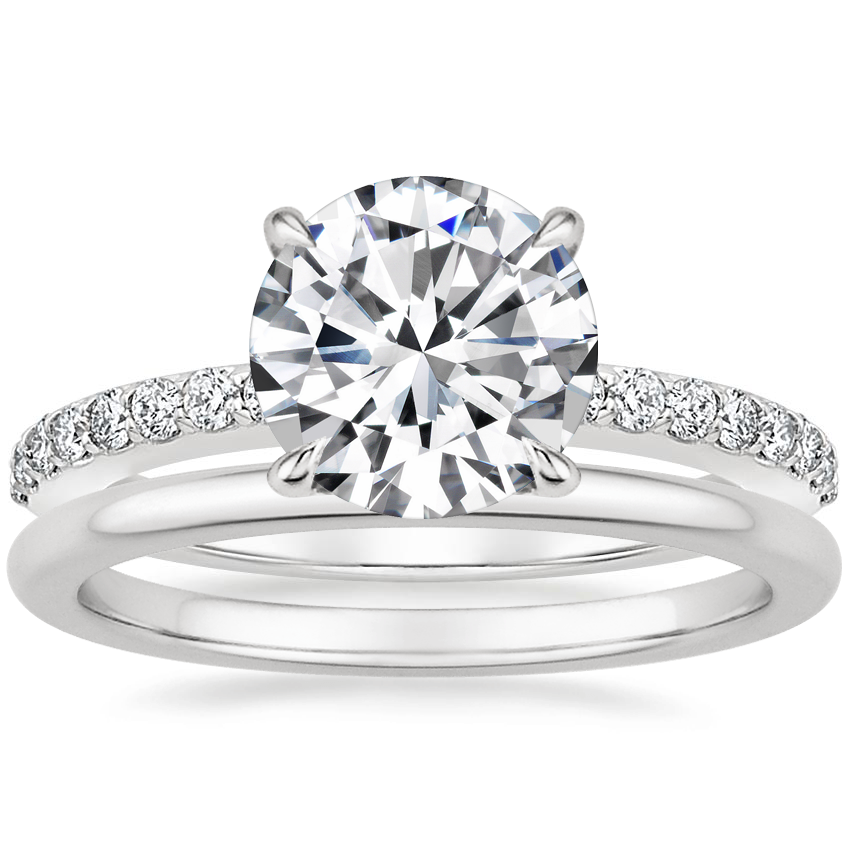Platinum Luxe Elodie Diamond Ring (1/4 ct. tw.) with Petite Comfort Fit Wedding Ring