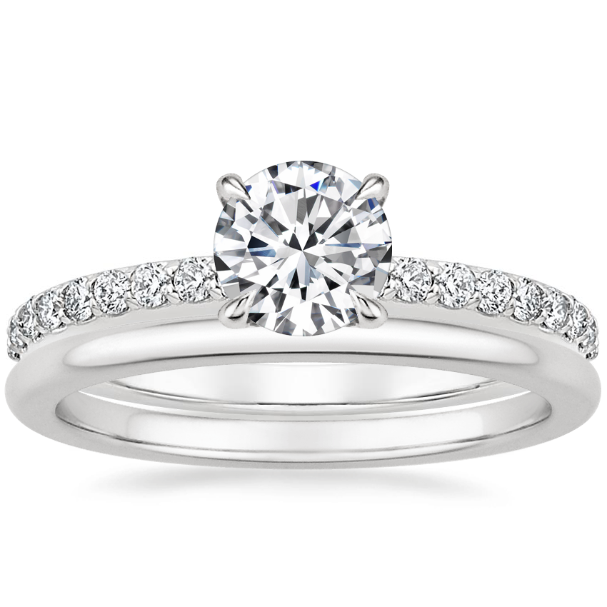 18K White Gold Luxe Elodie Diamond Ring (1/4 ct. tw.) with Petite Comfort Fit Wedding Ring