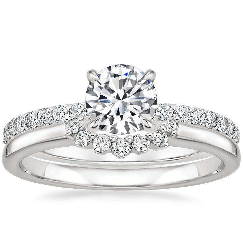 Platinum Luxe Elodie Diamond Ring (1/4 ct. tw.) with Crescent Diamond Ring