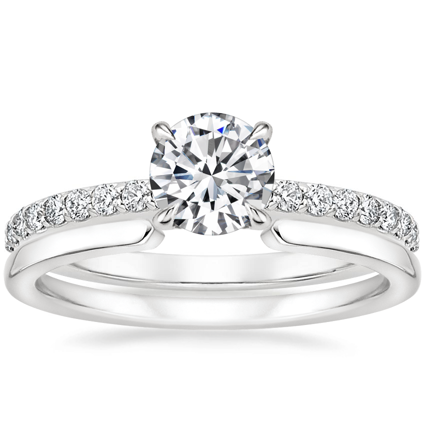 18K White Gold Luxe Elodie Diamond Ring (1/4 ct. tw.) with Liv Wedding Ring