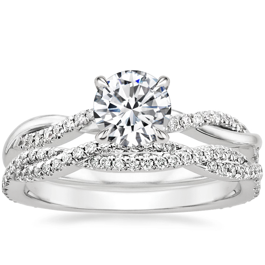 18K White Gold Petite Twisted Vine Diamond Ring with Petite Luxe Twisted Vine Diamond Ring (1/3 ct. tw.)