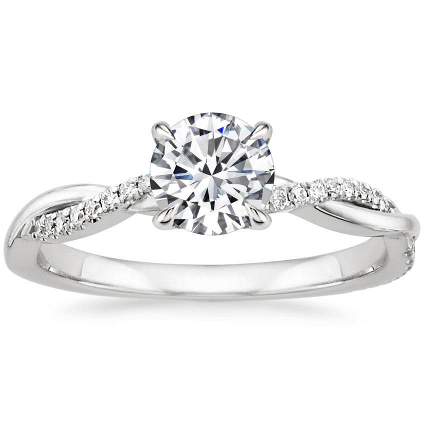 Round Platinum Petite Twisted Vine Diamond Ring