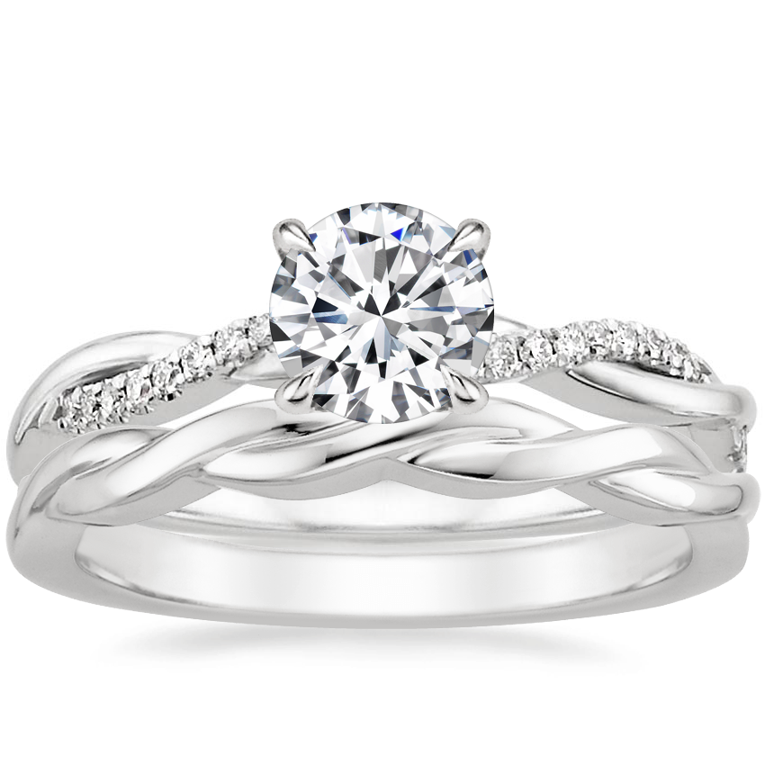 18K White Gold Petite Twisted Vine Diamond Ring with Twisted Vine Ring