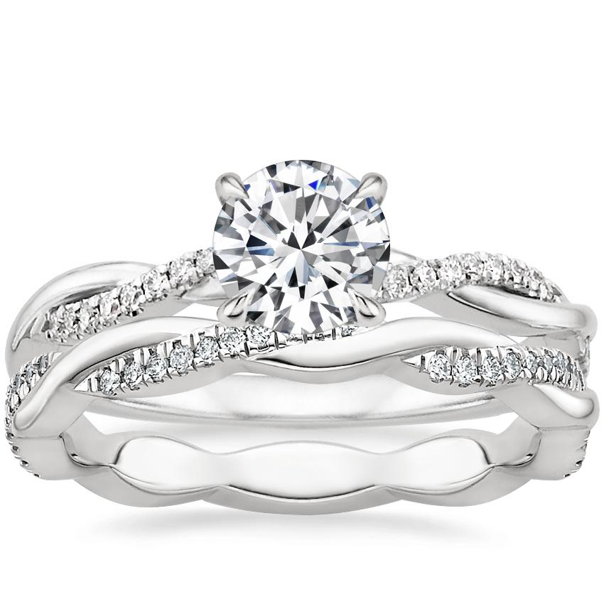 18K White Gold Petite Twisted Vine Diamond Ring (1/8 ct. tw.) with Petite Twisted Vine Eternity Diamond Ring (1/5 ct. tw.)