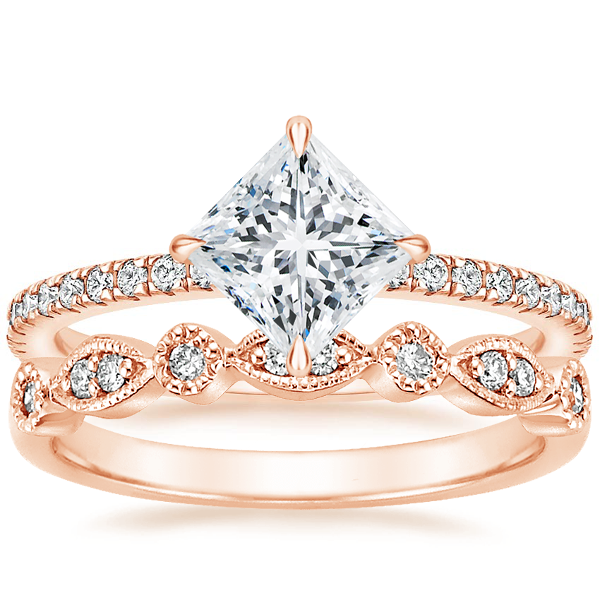 14K Rose Gold Polaris Diamond Ring with Tiara Diamond Ring (1/10 ct. tw.)