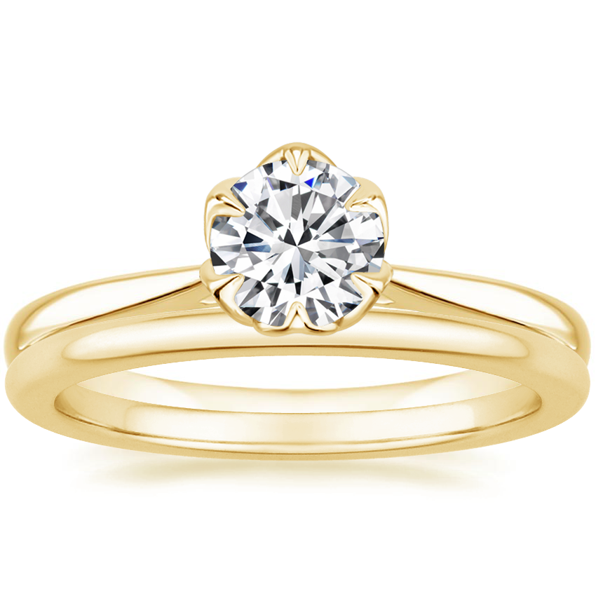 18K Yellow Gold Caliana Ring with Petite Comfort Fit Wedding Ring