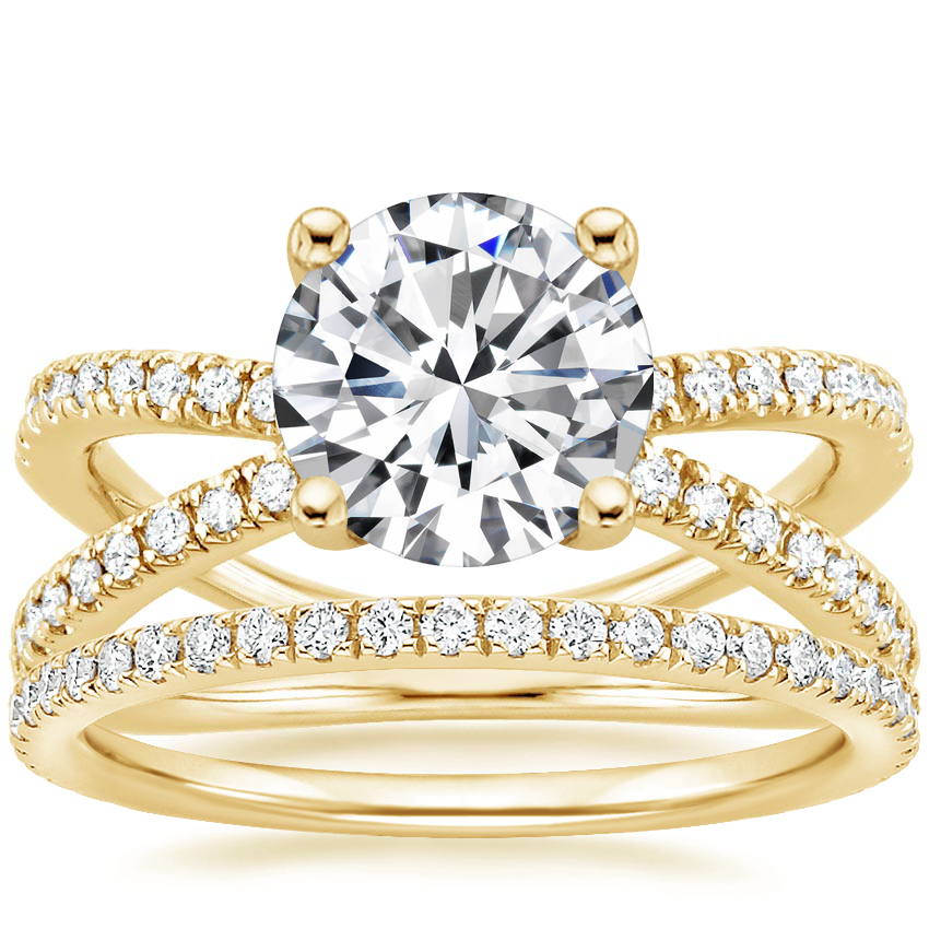 18K Yellow Gold Bisou Diamond Ring (1/3 ct. tw.) with Luxe Ballad Diamond Ring (1/4 ct. tw.)