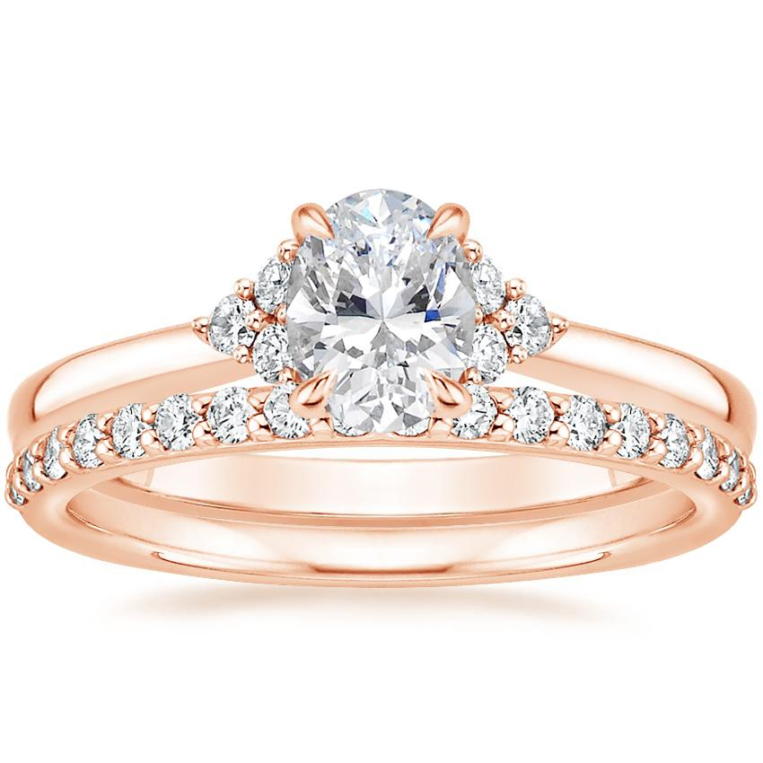 14K Rose Gold Melody Diamond Ring with Petite Shared Prong Diamond Ring (1/4 ct. tw.)