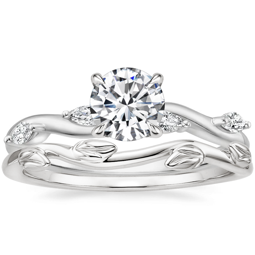 Platinum Winding Willow Diamond Ring with Winding Willow Ring
