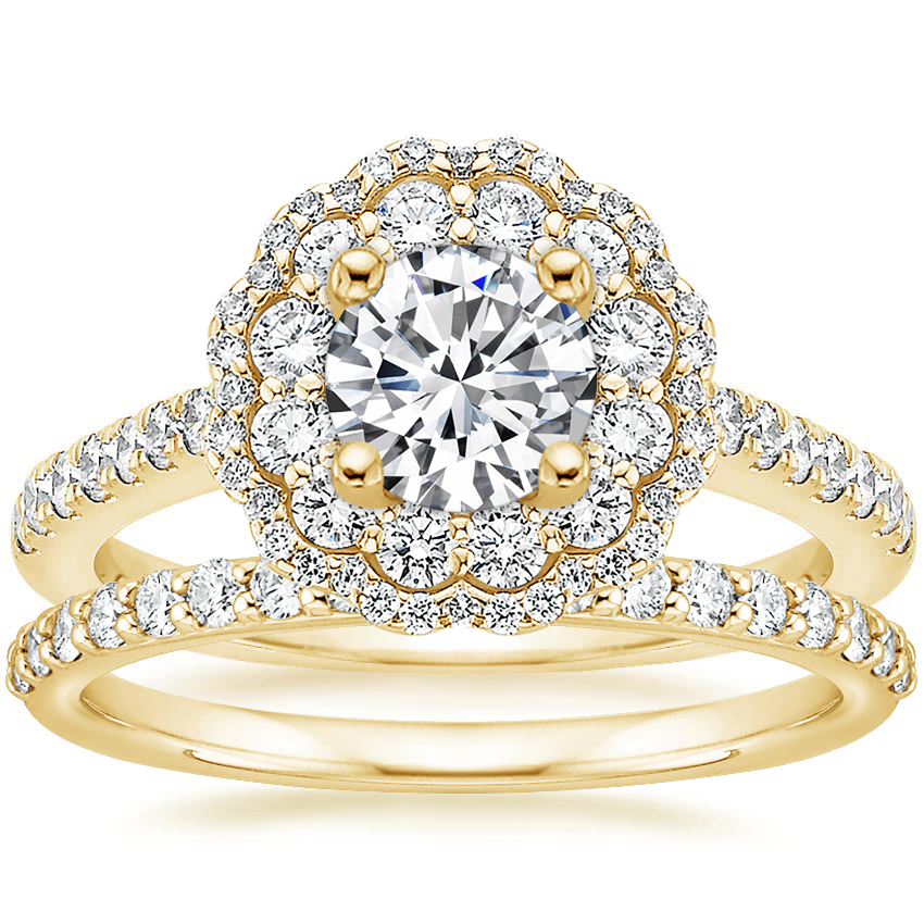 18K Yellow Gold Rosa Diamond Ring with Petite Shared Prong Diamond Ring (1/4 ct. tw.)