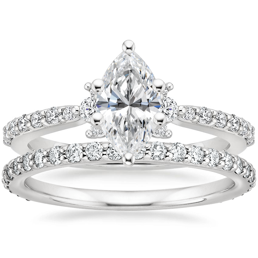 18K White Gold Melina Diamond Ring (1/4 ct. tw.) with Luxe Petite Shared Prong Diamond Ring (3/8 ct. tw.)
