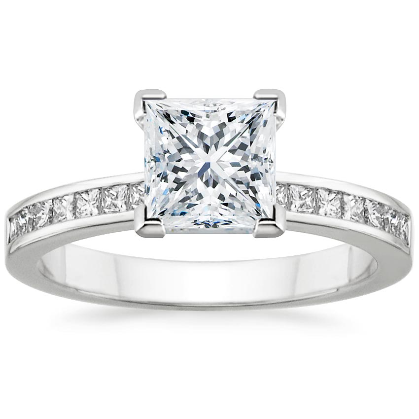 18K White Gold Petite Channel Set Princess Diamond Ring (1/3 ct. tw.), top view