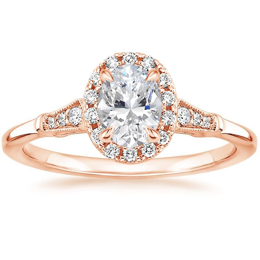 Oval 14K Rose Gold Linden Diamond Ring