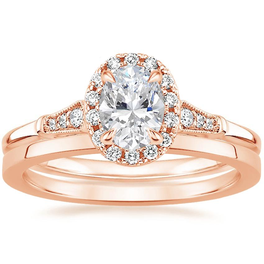 14K Rose Gold Linden Diamond Ring with Petite Quattro Wedding Ring