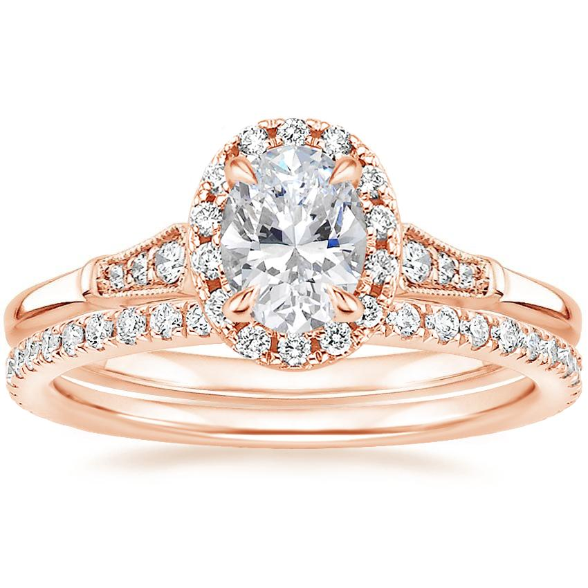 14K Rose Gold Linden Diamond Ring with Luxe Ballad Diamond Ring (1/4 ct. tw.)