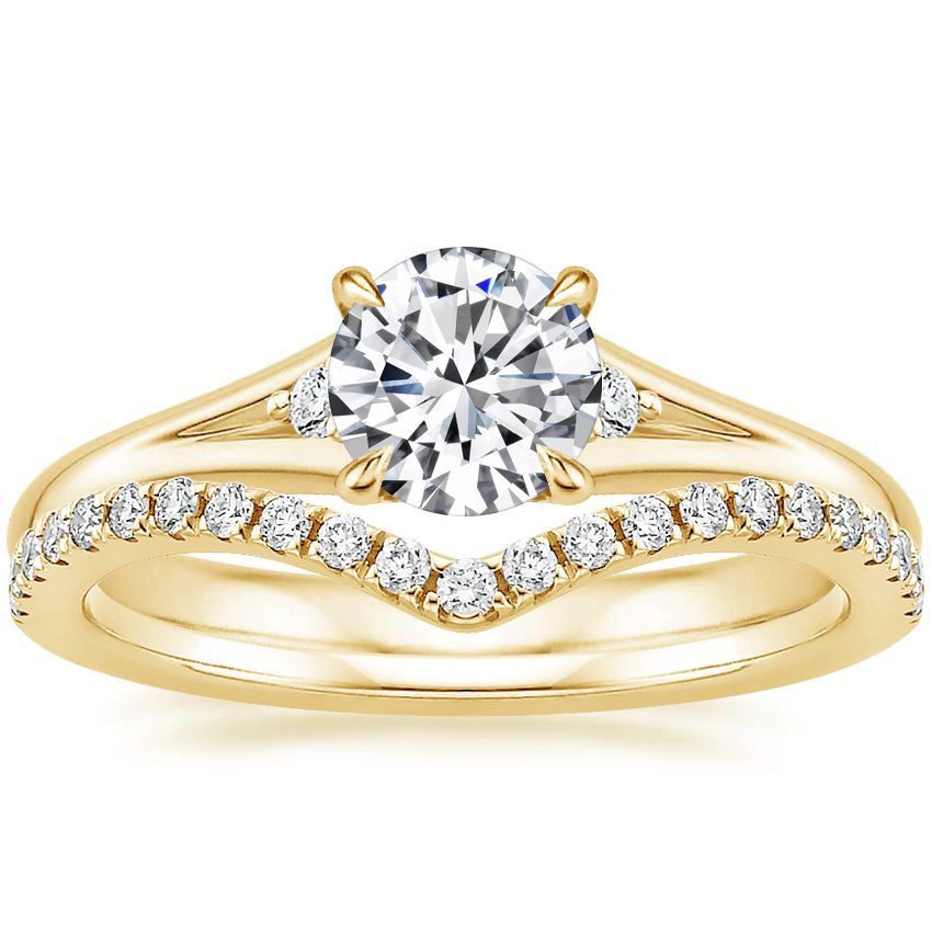 18K Yellow Gold Lena Diamond Ring with Flair Diamond Ring