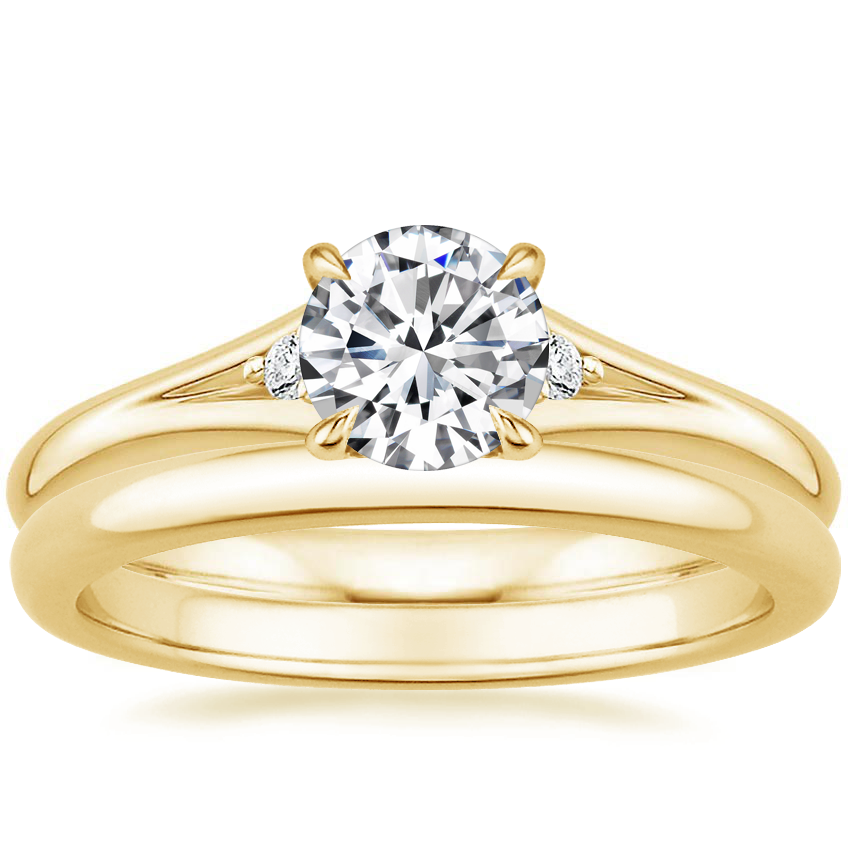 18K Yellow Gold Lena Diamond Ring with 2mm Comfort Fit Wedding Ring