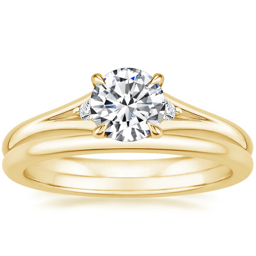 18K Yellow Gold Lena Diamond Ring with Petite Comfort Fit Wedding Ring