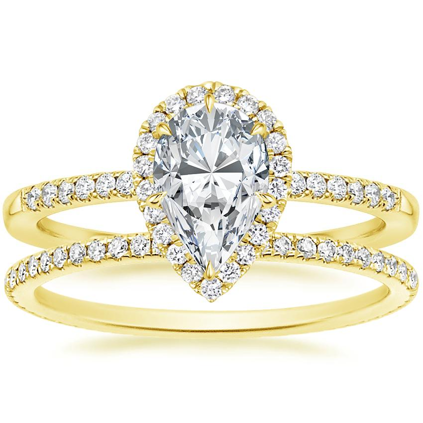 18K Yellow Gold Cambria Diamond Ring with Whisper Eternity Diamond Ring (1/4 ct. tw.)