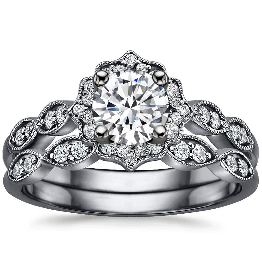 18K White Gold Black Rhodium Cadenza Halo Bridal Set (1/4 ct. tw.)