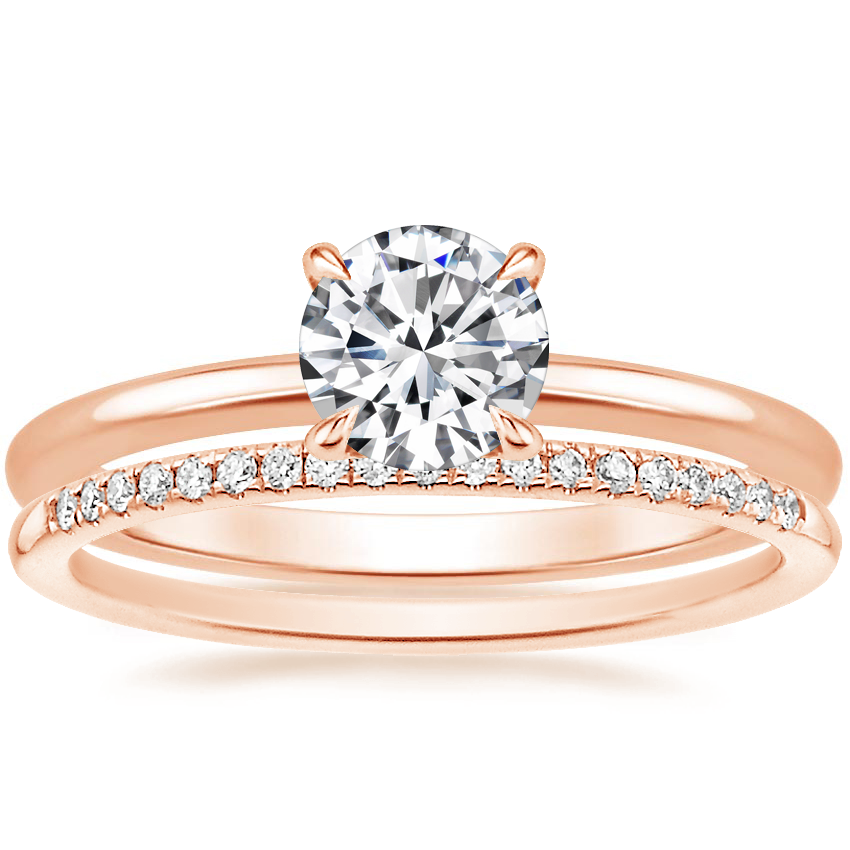 14K Rose Gold Secret Halo Diamond Ring with Whisper Diamond Ring (1/10 ct. tw.)