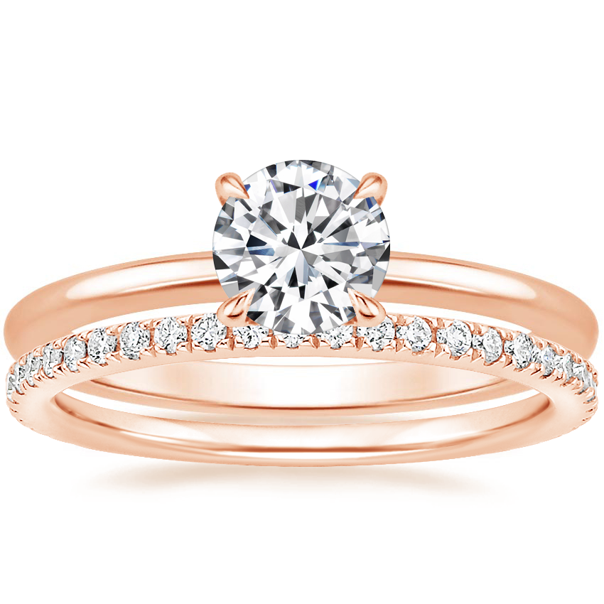 14K Rose Gold Secret Halo Diamond Ring with Luxe Ballad Diamond Ring (1/4 ct. tw.)