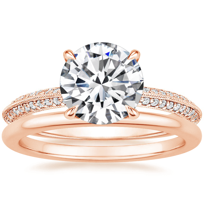 14K Rose Gold Callista Diamond Ring with Petite Comfort Fit Wedding Ring