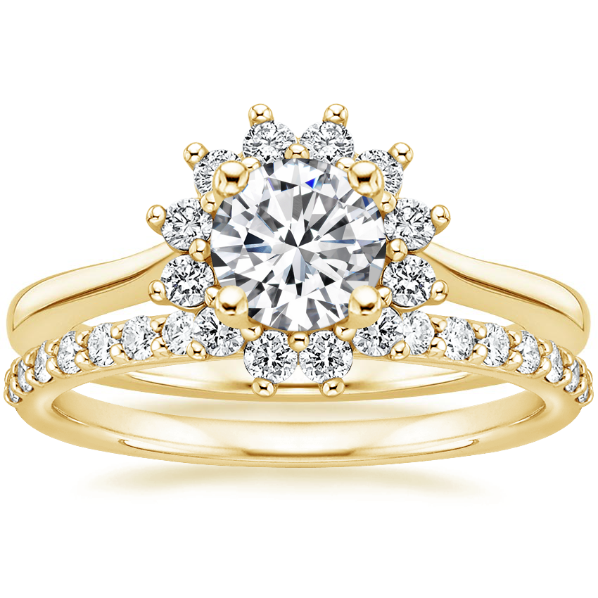 18K Yellow Gold Sunburst Diamond Ring (1/4 ct. tw.) with Petite Shared Prong Diamond Ring (1/4 ct. tw.)