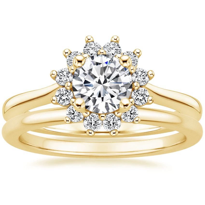18K Yellow Gold Sunburst Diamond Ring (1/4 ct. tw.) with Petite Comfort Fit Wedding Ring