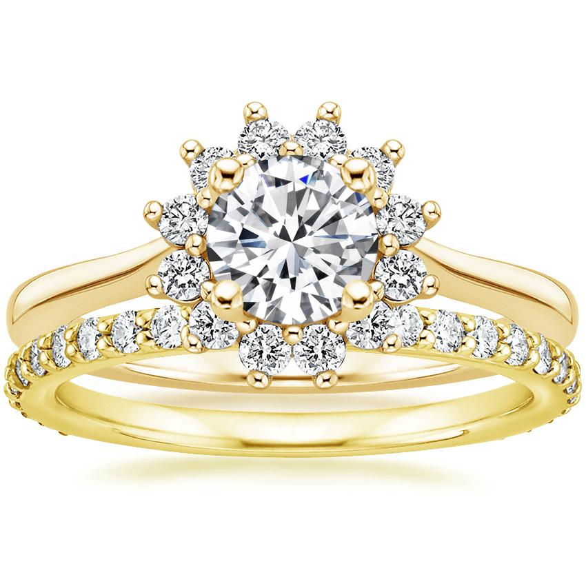 18K Yellow Gold Sunburst Diamond Ring (1/4 ct. tw.) with Luxe Petite Shared Prong Diamond Ring (3/8 ct. tw.)
