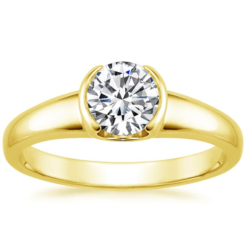 18K Yellow Gold Petite Semi-Bezel Ring, top view