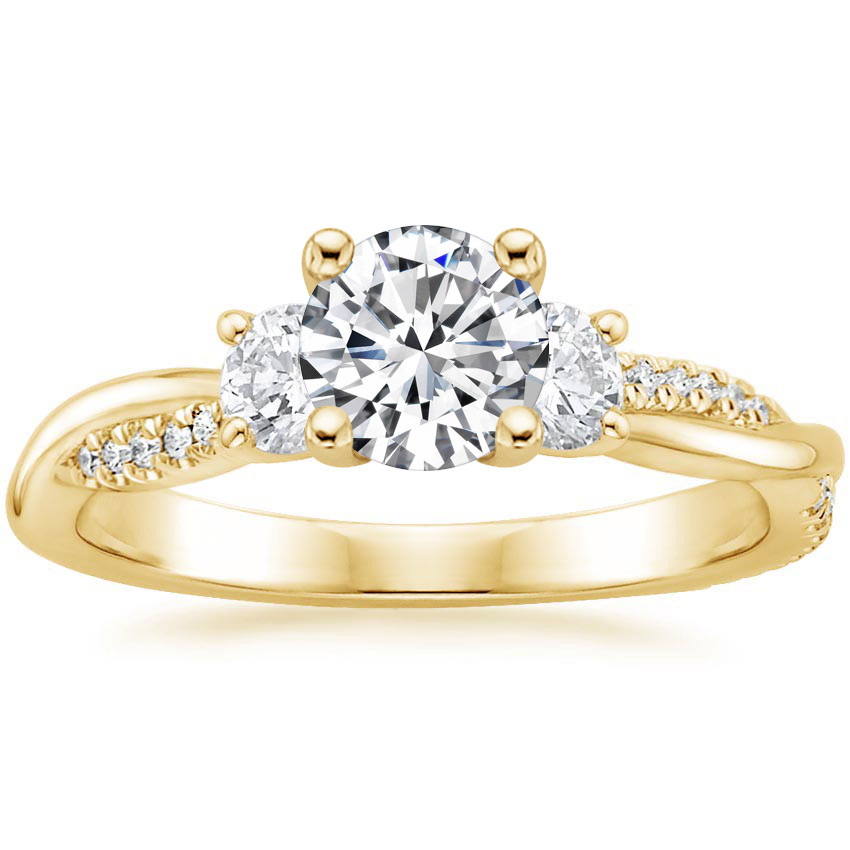 Round 18K Yellow Gold Three Stone Petite Twisted Vine Diamond Ring (2/5 ct. tw.)