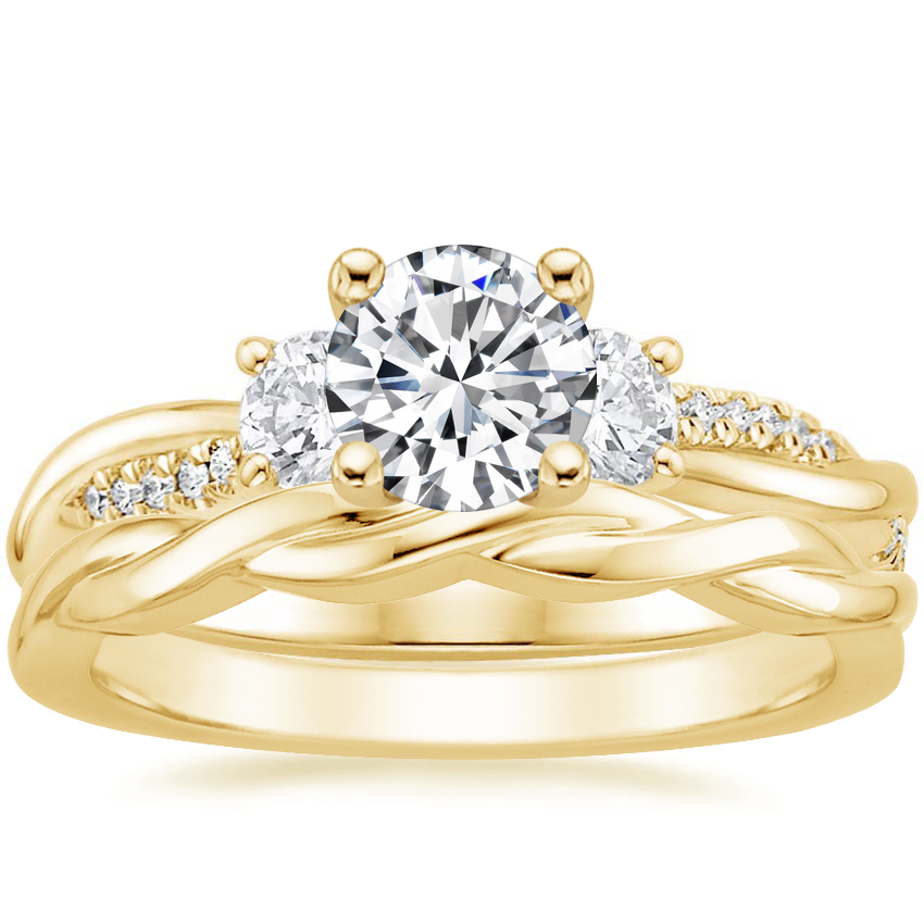 18K Yellow Gold Three Stone Petite Twisted Vine Diamond Ring with Twisted Vine Ring
