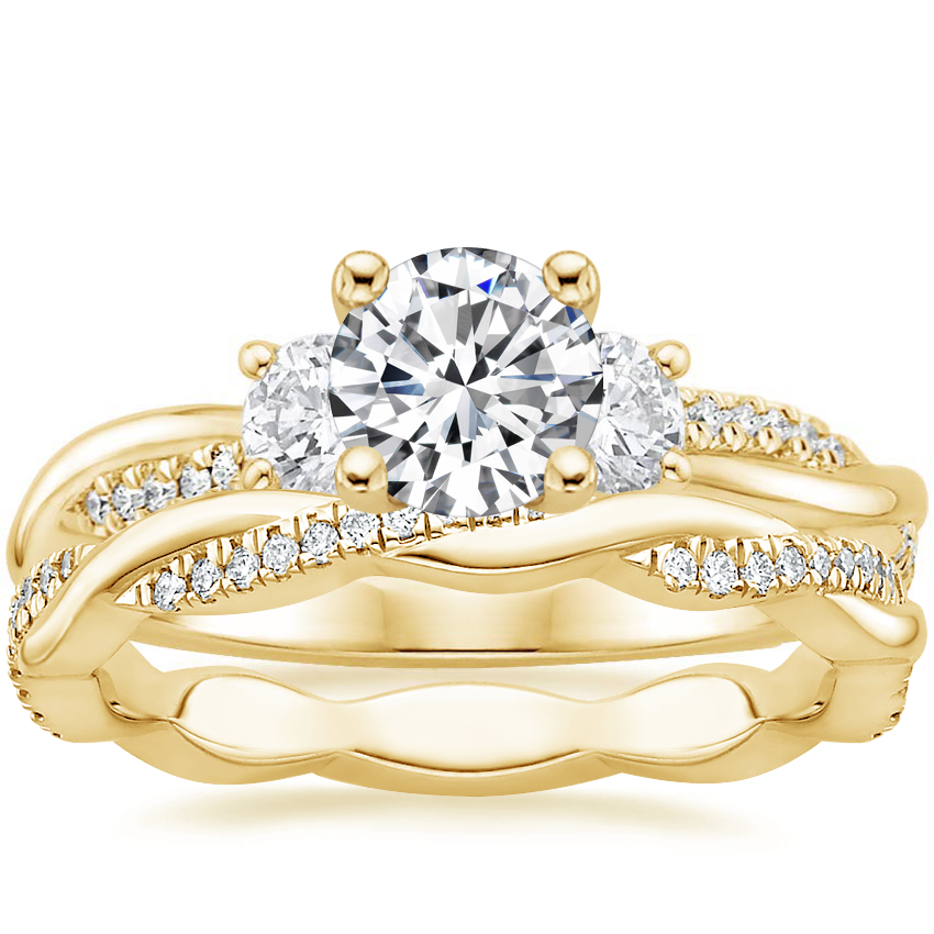 18K Yellow Gold Three Stone Petite Twisted Vine Diamond Ring (2/5 ct. tw.) with Petite Twisted Vine Eternity Diamond Ring (1/5 ct. tw.)