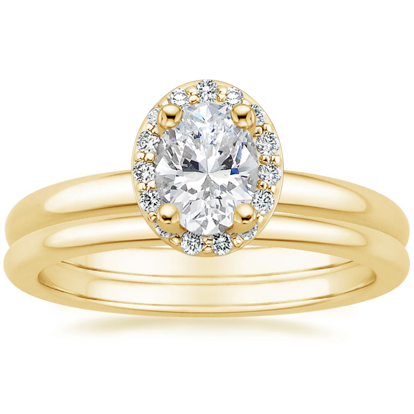 18K Yellow Gold Fancy Halo Diamond Ring (1/8 ct. tw.) with Petite Comfort Fit Wedding Ring