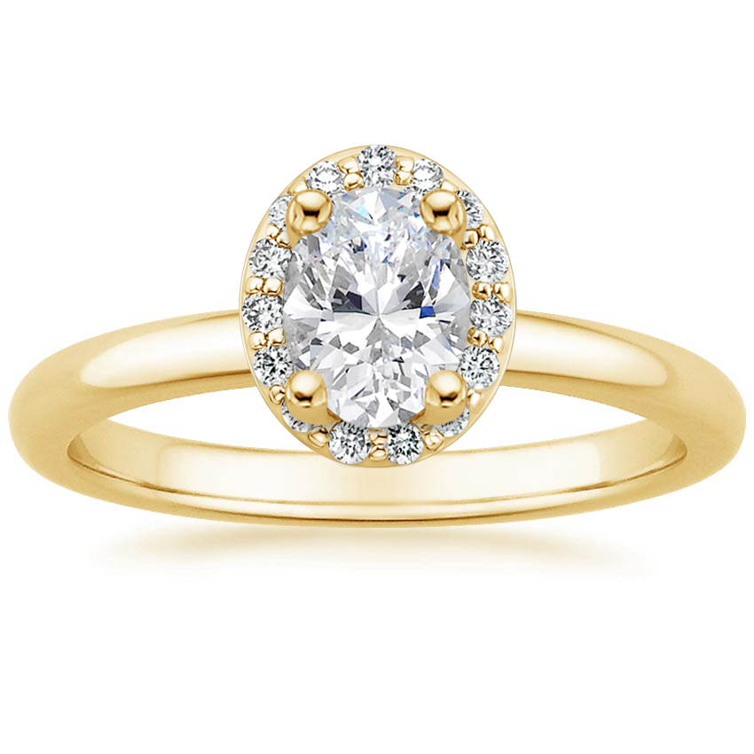Oval 18K Yellow Gold Fancy Halo Diamond Ring (1/6 ct. tw.)