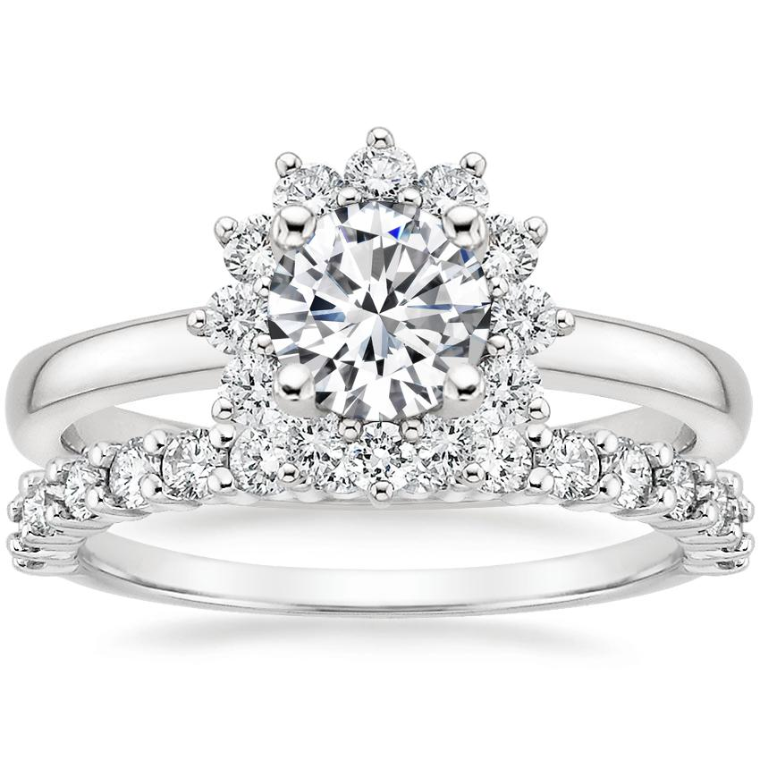 Platinum Sunburst Diamond Ring (1/3 ct. tw.) with Shared Prong Diamond Ring (2/5 ct. tw.)