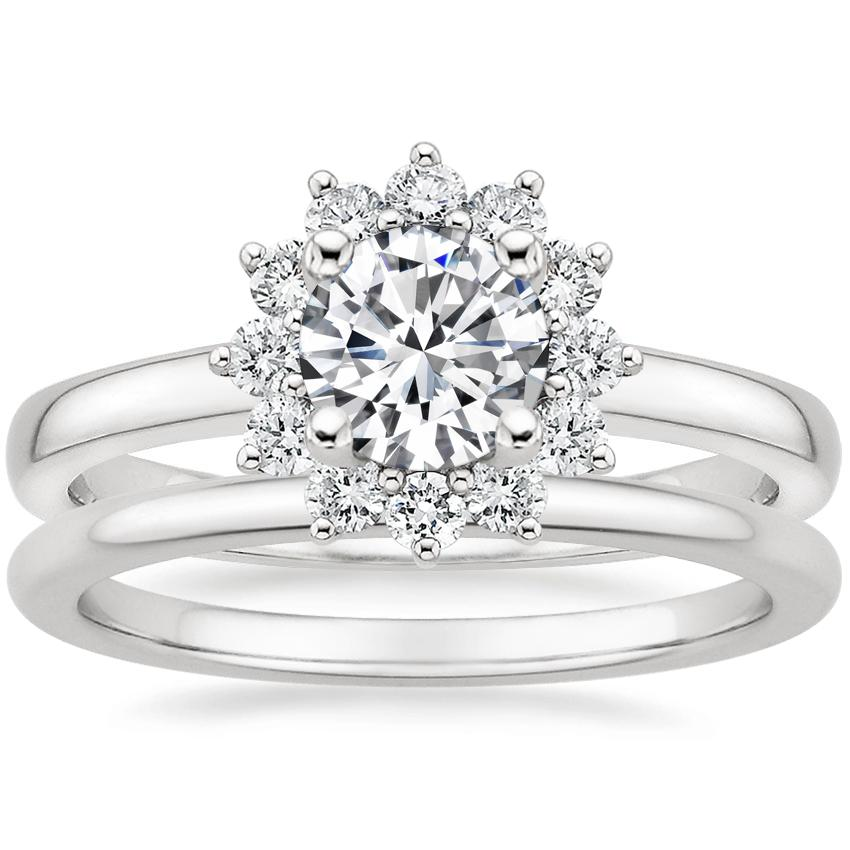 Platinum Sunburst Diamond Ring (1/3 ct. tw.) with Petite Comfort Fit Wedding Ring