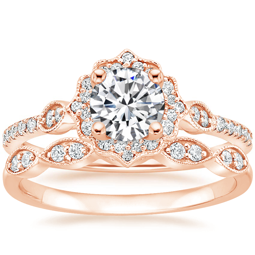 14K Rose Gold Cordelia Diamond Ring (1/4 ct. tw.) with Cadenza Diamond Ring (1/10 ct. tw.)