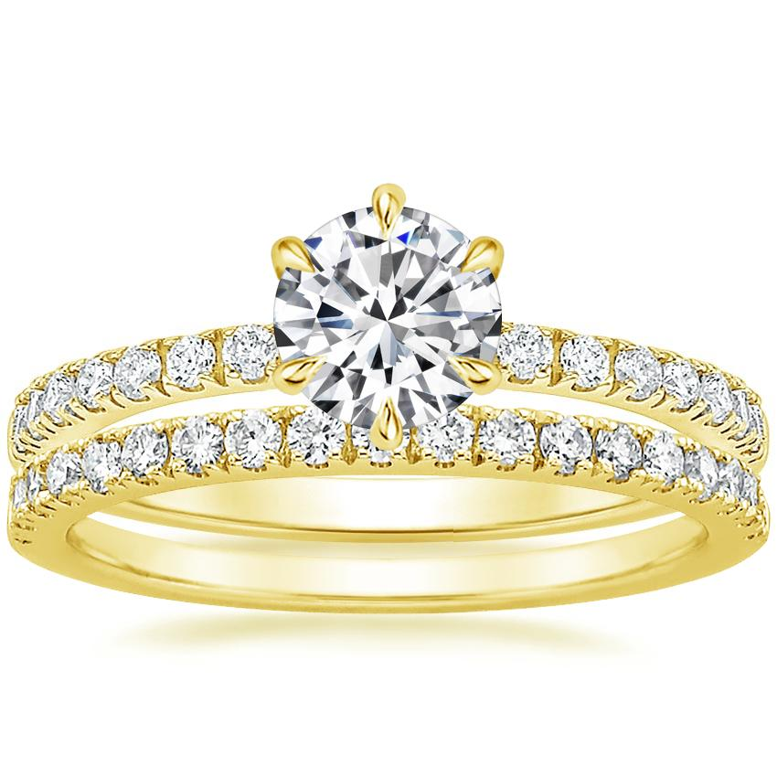 18K Yellow Gold Poppy Diamond Ring with Bliss Diamond Ring (1/5 ct. tw.)