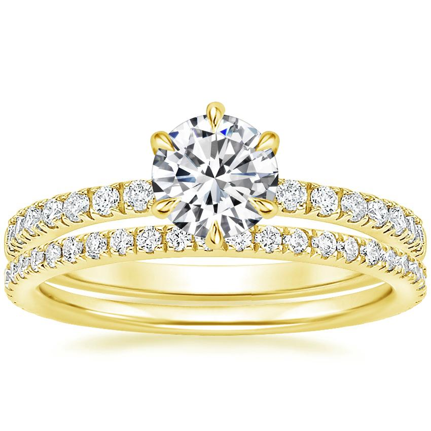 18K Yellow Gold Poppy Diamond Ring with Luxe Ballad Diamond Ring (1/4 ct. tw.)