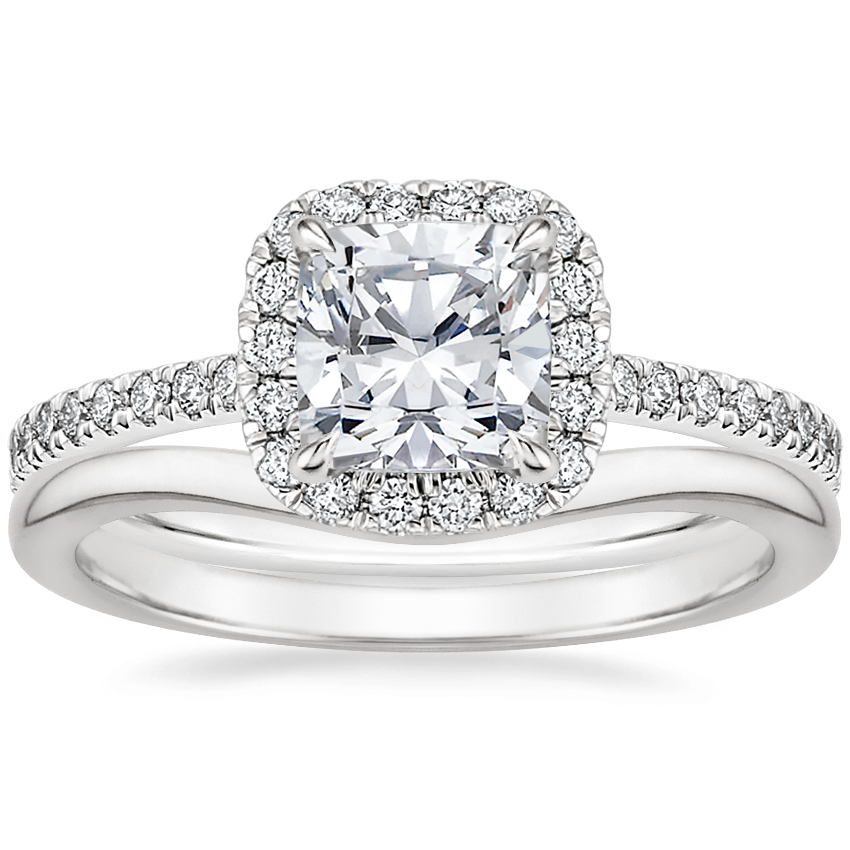 18K White Gold Luxe Ballad Halo Diamond Ring (1/3 ct. tw.) with Petite Curved Wedding Ring