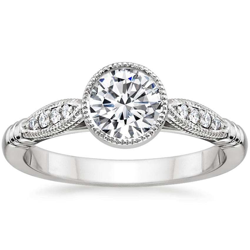 Platinum Lyra Diamond Ring, top view