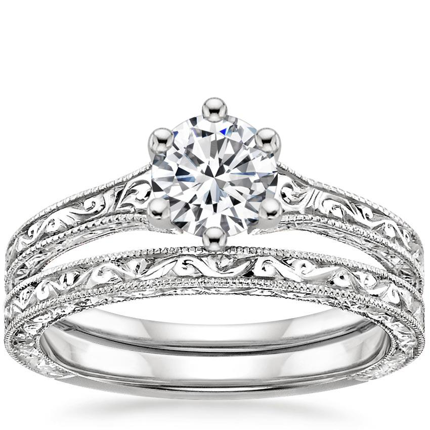 18K White Gold Hudson Bridal Set