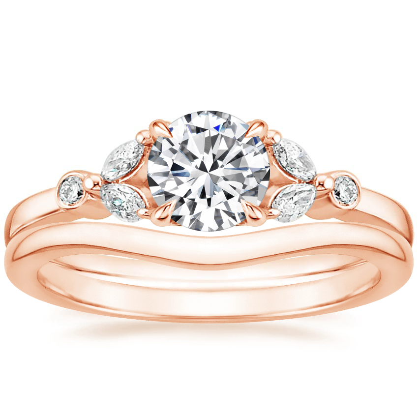 14K Rose Gold Verbena Diamond Ring with Petite Curved Wedding Ring