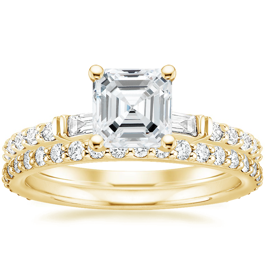 18K Yellow Gold Regency Diamond Ring with Petite Shared Prong Eternity Diamond Ring (1/2 ct. tw.)